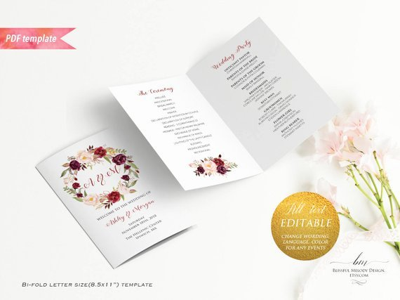 Bi Fold Program Template Awesome Printable Burgundy Floral Wedding Program Booklet Editable