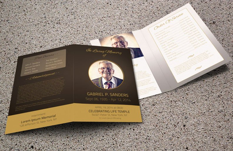Bi Fold Program Template Beautiful 9 Obituary Template – Free Pdf Psd Word format Download