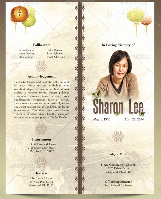Bi Fold Program Template Beautiful oriental Style Bi Fold Funeral Program Template