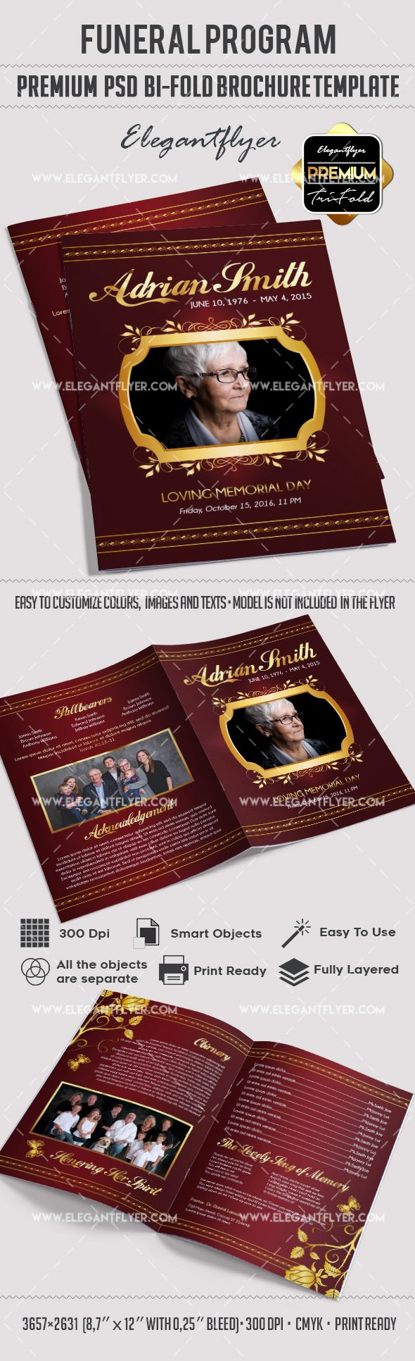 Bi Fold Program Template Elegant Bi Fold Template for Funeral Service Program – by Elegantflyer