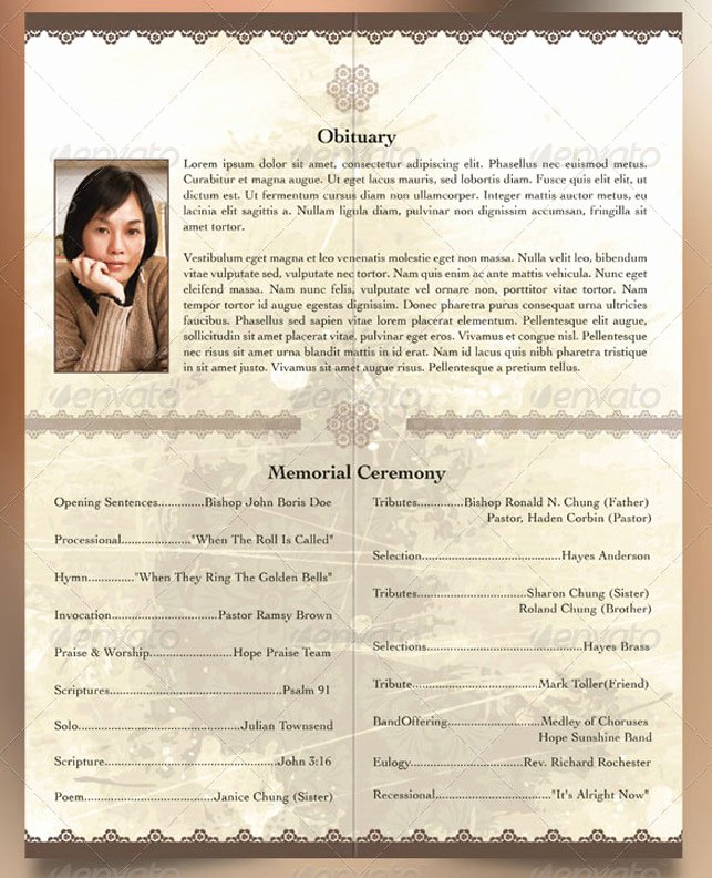 Bi Fold Program Template Elegant oriental Style Bi Fold Funeral Program Template
