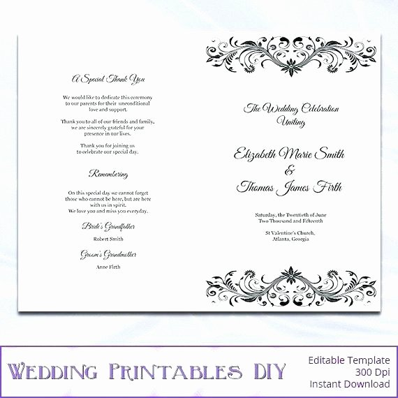 Bi Fold Program Template Fresh Free Bi Fold Wedding Program Template Folded – Btcromaniafo