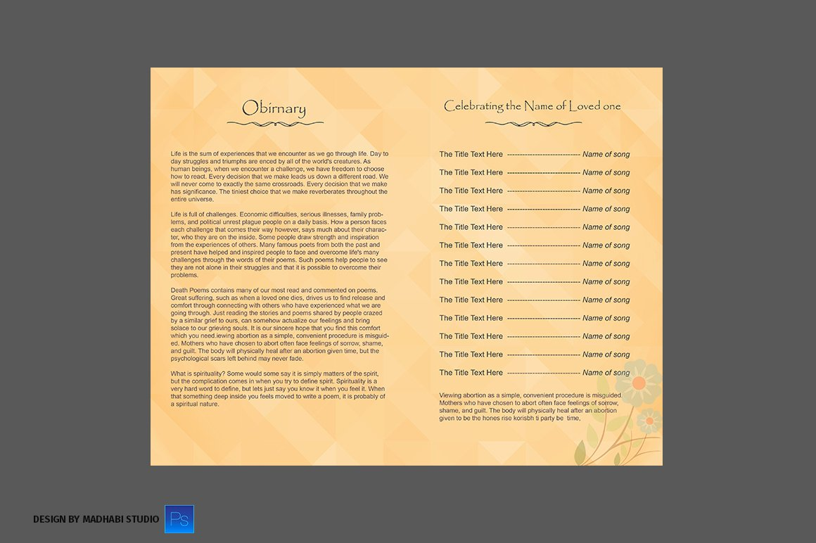 Bi Fold Program Template Fresh Funeral Program Bi Fold Template Brochure Templates On
