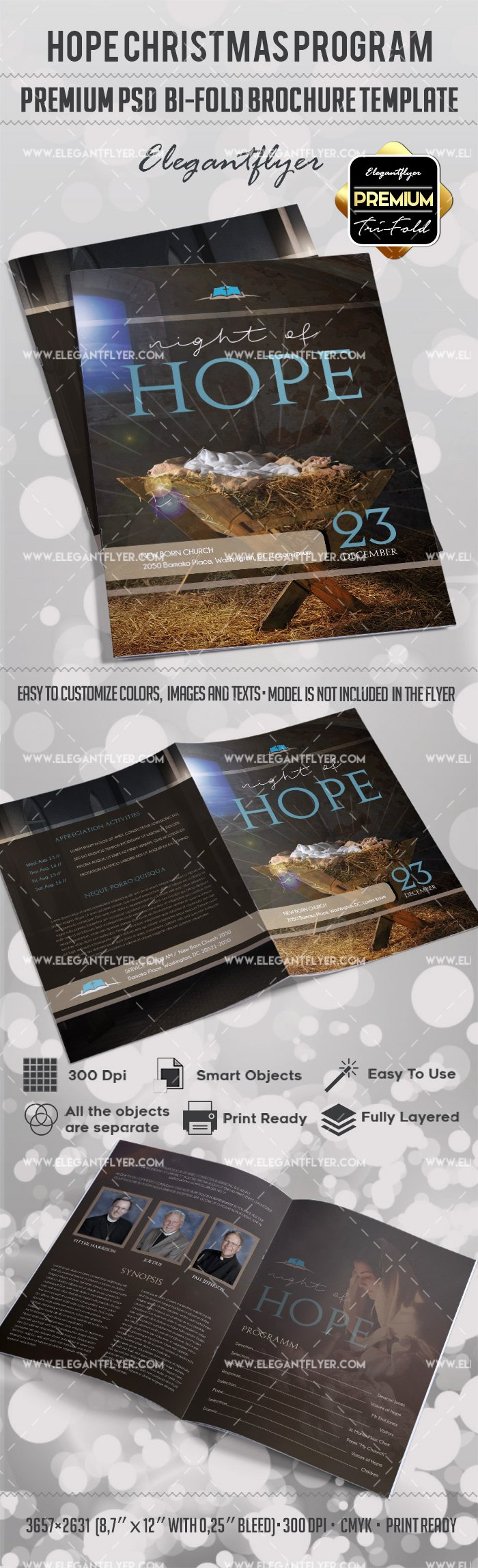 hope christmas program premium bi fold psd brochure template 2