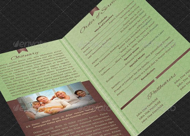Bi Fold Program Template Luxury Bi Fold Funeral Program Template