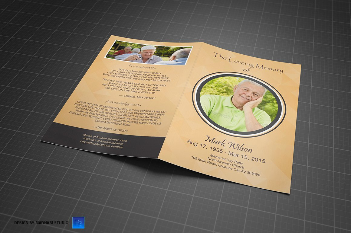 Bi Fold Program Template Luxury Funeral Program Bi Fold Template Brochure Templates On