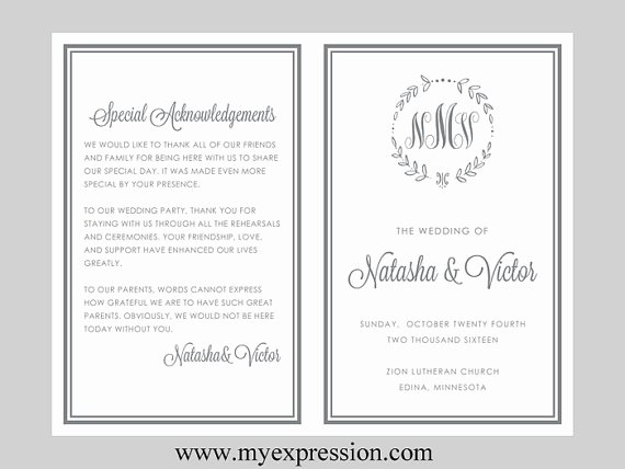 Bi Fold Program Template New Free Bi Fold Wedding Program Templates Microsoft Word Free