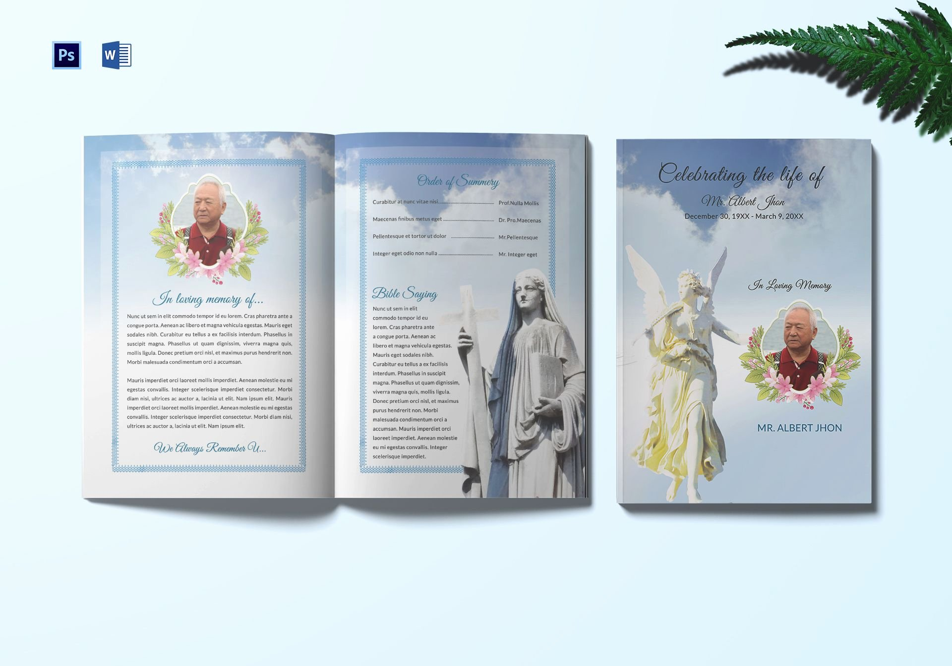 Bi Fold Program Template New Funeral Program Bi Fold Template In Adobe Shop
