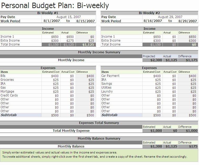 Bi Weekly Budget Template Awesome Biweekly Bud