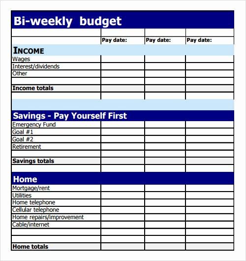 Bi Weekly Budget Template Elegant 9 Sample Bud Templates