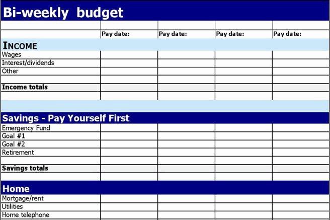 Bi Weekly Budget Template Luxury 1 Bi Weekly Bud Template Free Download