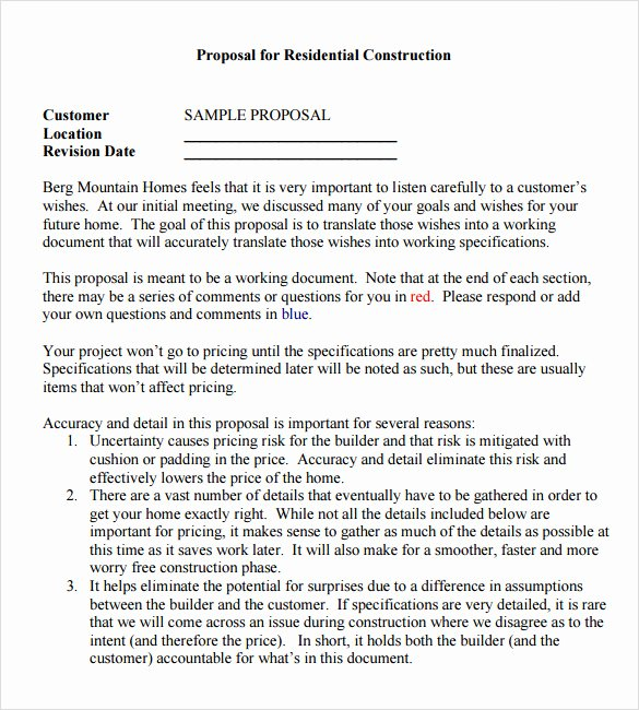 Bid Proposal Template Pdf Beautiful Sample Contractor Proposal 13 Documents In Pdf Word
