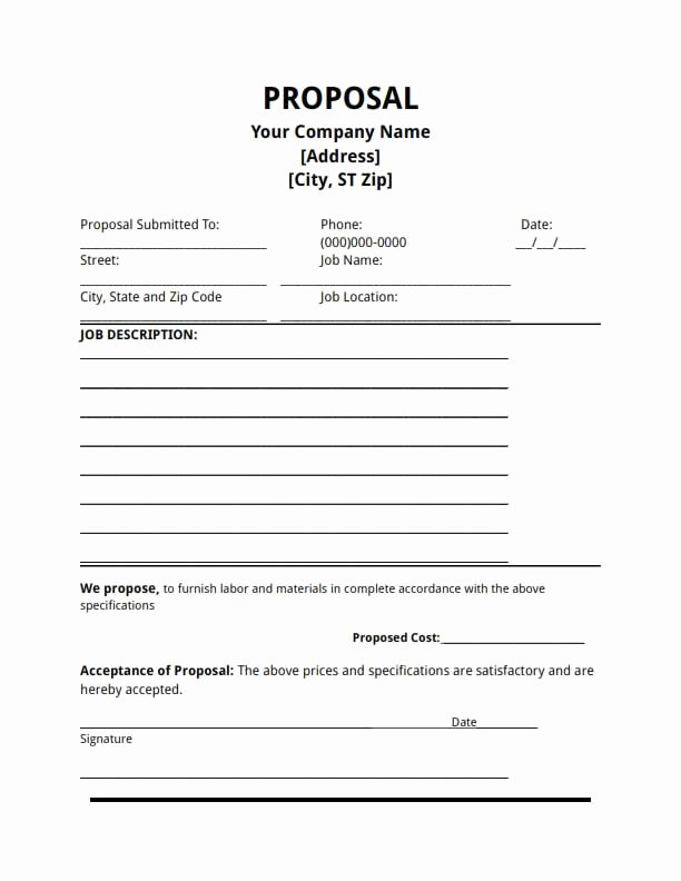 Bid Proposal Template Pdf Elegant Proposal Template Free Download Create Edit Fill and Print