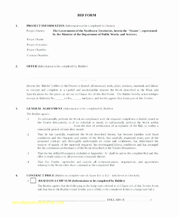 Bid Proposal Template Pdf New Construction Proposal form – Puebladigital