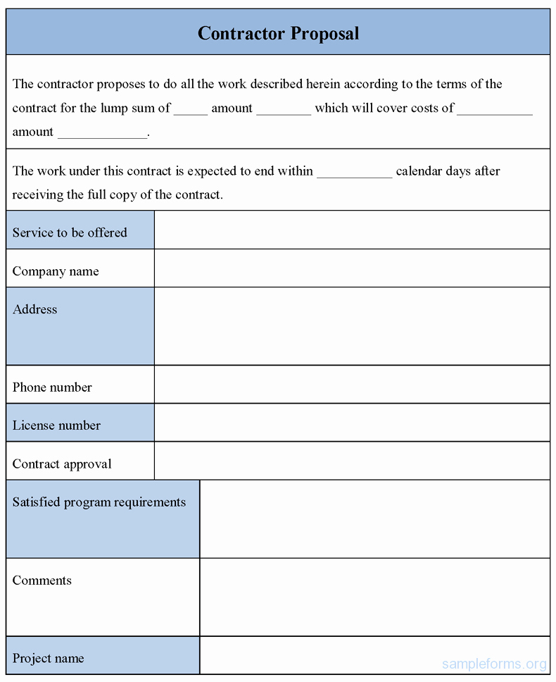 Bid Proposal Template Word Best Of Contractor Proposal form Sample forms