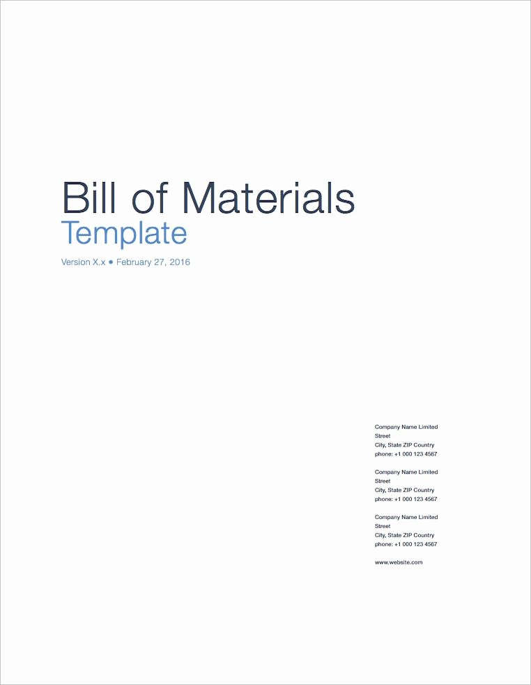 Bill Of Material Template Awesome Bill Of Materials Apple Iwork Pages Numbers