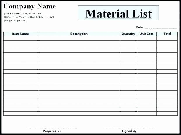Bill Of Material Template Unique Cost Estimating Sheet with Excel for the General
