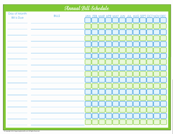 Bill Pay Calendar Template Awesome 7 Best Of Free Printable Annual Bill organizer