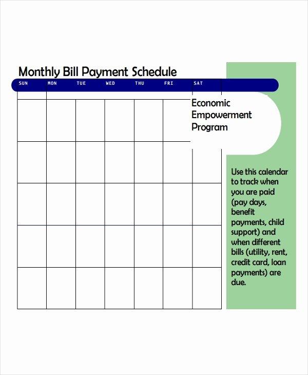 Bill Pay Calendar Template Fresh 4 Bill Payment Schedule Templates Free Samples