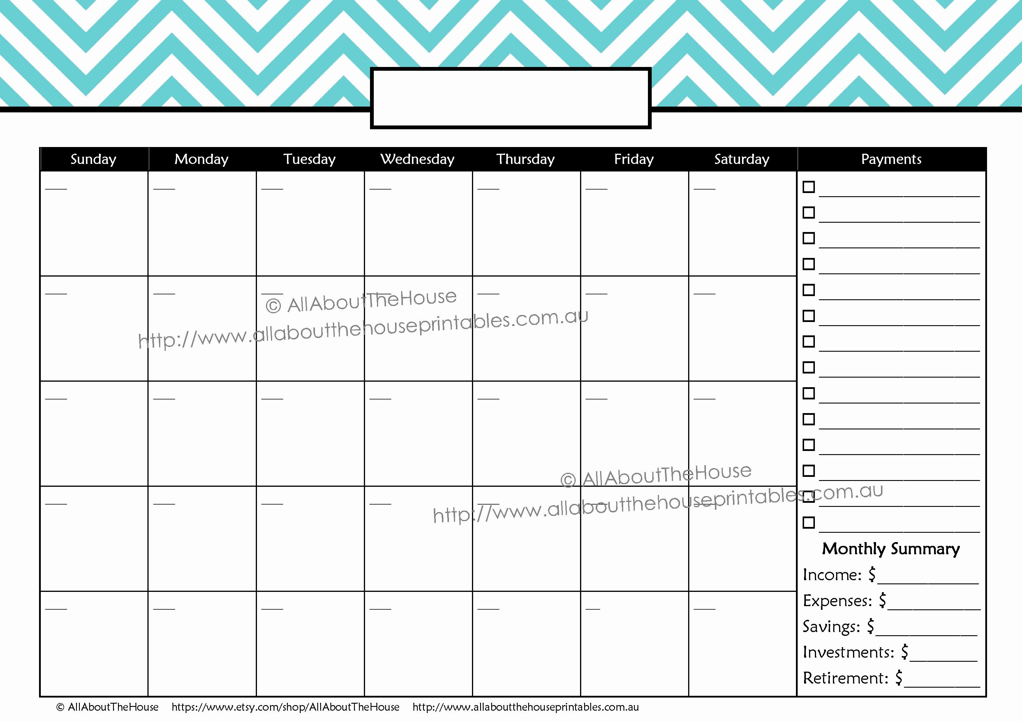 Bill Pay Calendar Template Fresh Monthly Calendar