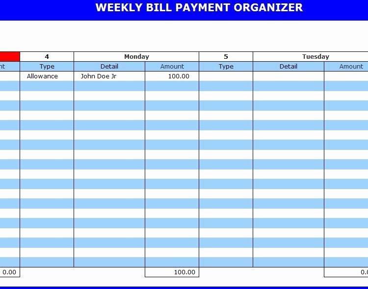 Bill Pay Calendar Template Inspirational 9 Best Of Free Printable Weekly Bill Planner Bill