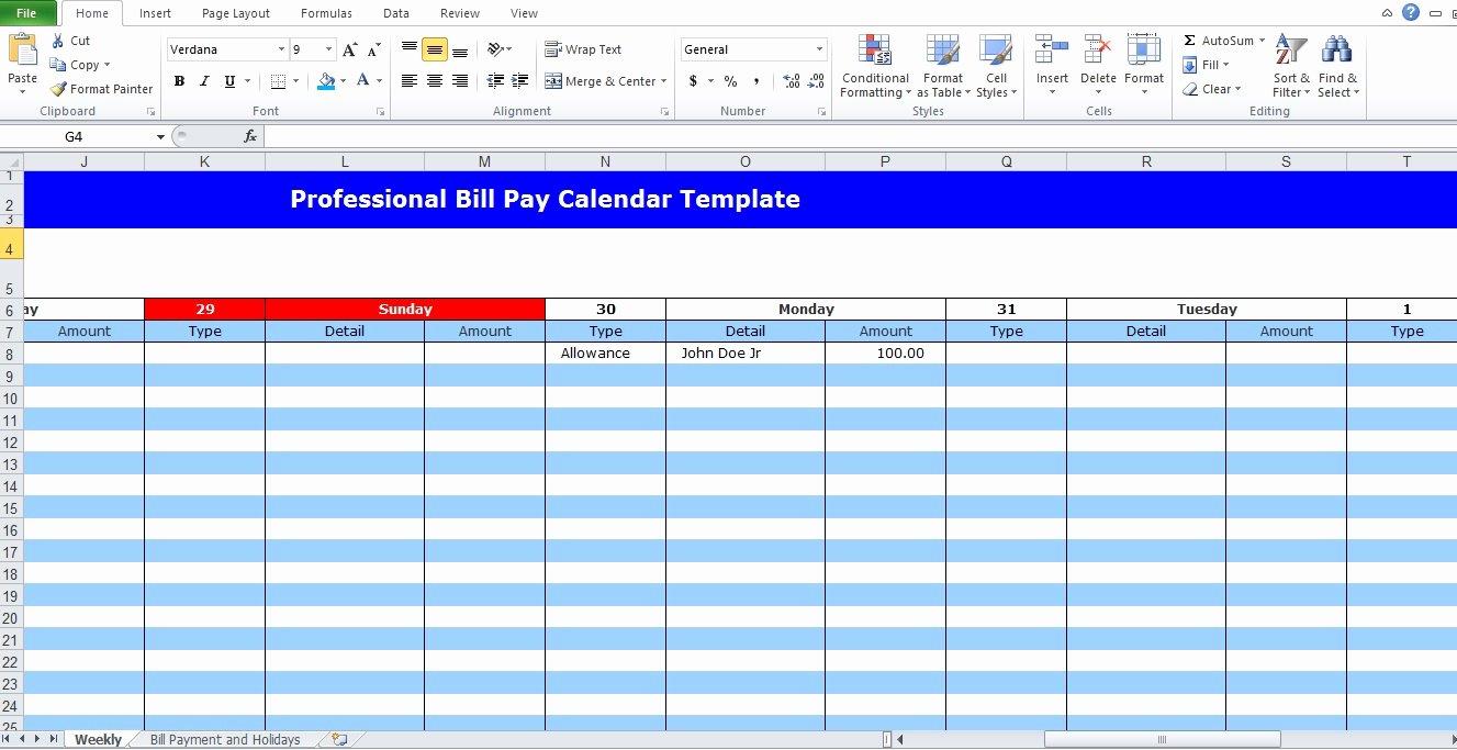 Bill Pay Calendar Template Inspirational Professional Bill Pay Calendar Template Excel Tmp