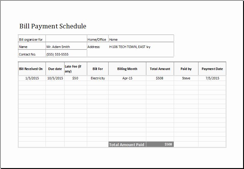 Bill Pay Calendar Template Lovely Bill Payment Schedule Template at Emplates
