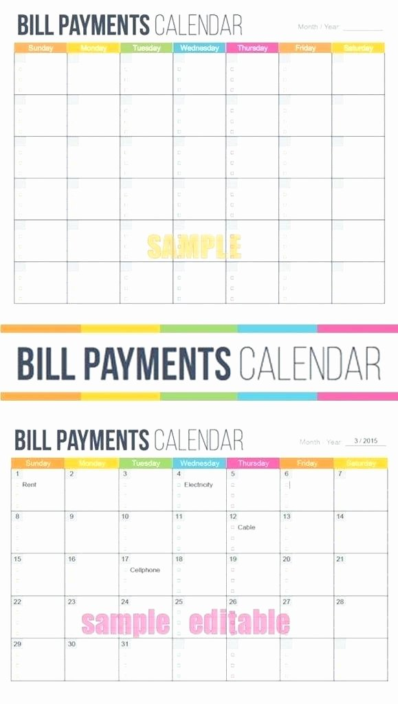 Bill Pay Calendar Template Lovely Free Printable Monthly Bill Payment Log Worksheet to