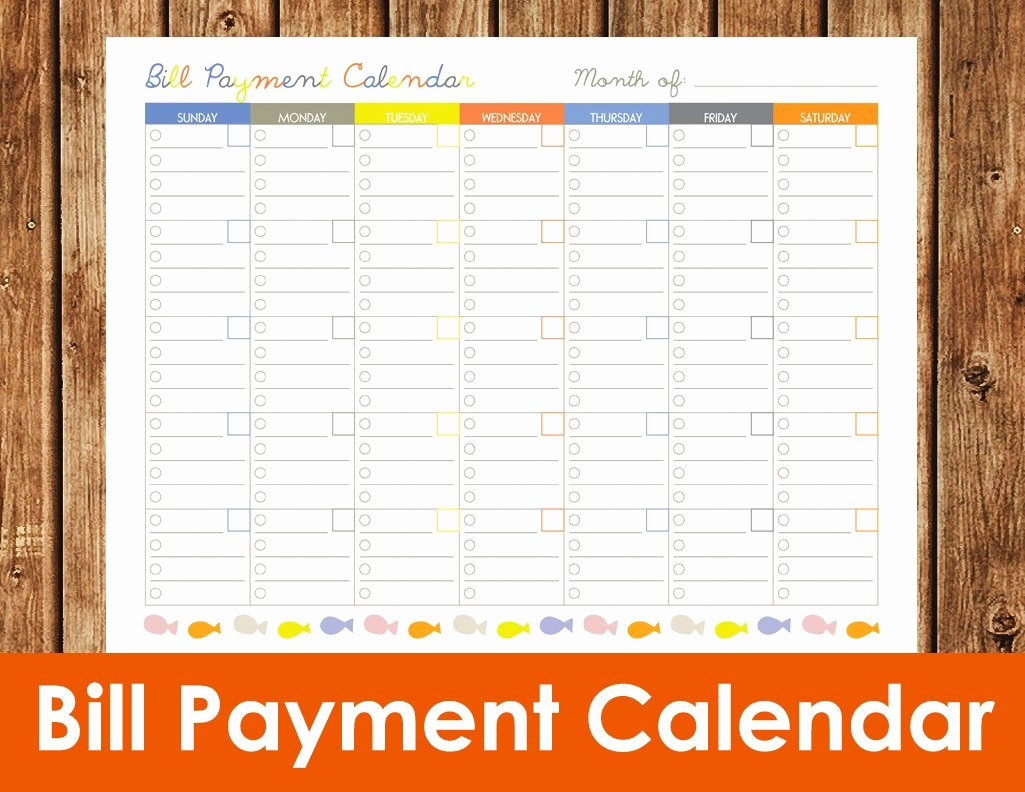 Bill Pay Calendar Template Luxury Bill Payment Calendar Instant Download Pdf by Spottedpixel