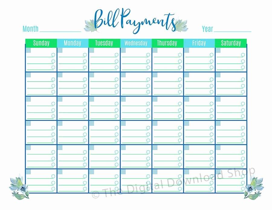 Bill Pay Calendar Template New Bill Payments Calendar Printable Floral