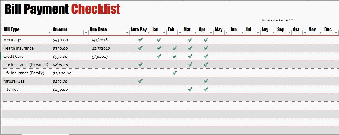 Bill Pay Checklist Template Beautiful Bill Payment Checklist Templates for Ms Excel