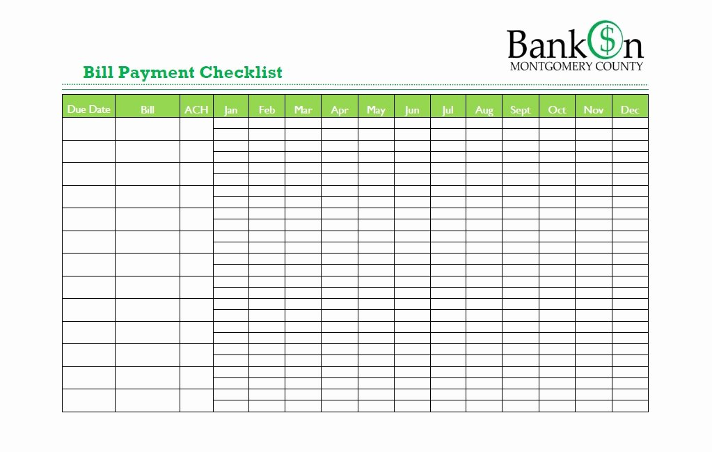 Bill Pay Checklist Template Best Of 32 Free Bill Pay Checklists & Bill Calendars Pdf Word