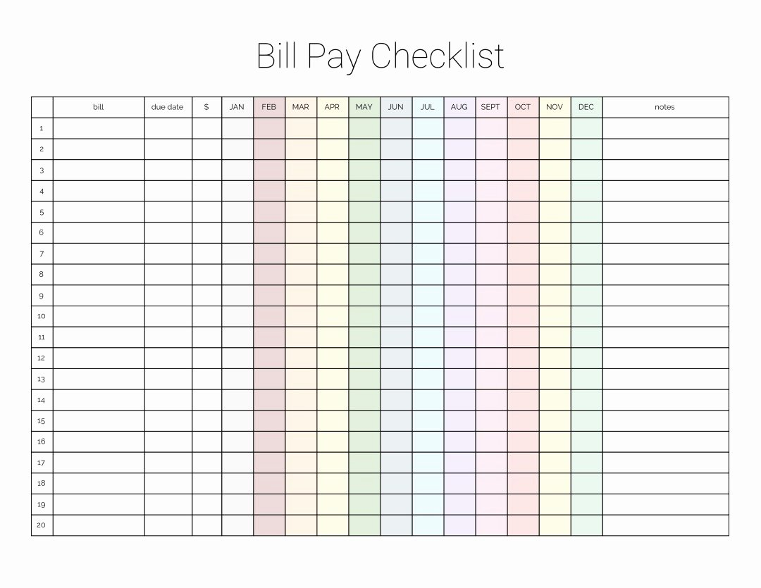 Bill Pay Checklist Template Elegant Monthly Bill Payment Checklist Printable Million Ways