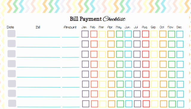 Bill Pay Checklist Template Inspirational 5 Best Of Free Printable Pay Chart Printable Bill