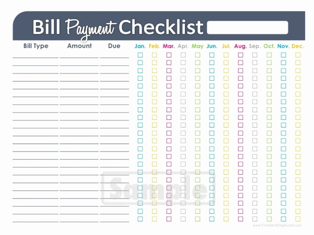 Bill Pay Checklist Template Unique Bill Payment Checklist Printable Editable by Freshandorganized