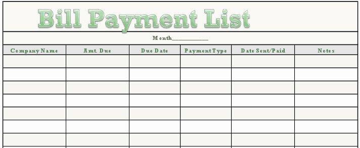 Bill Pay Checklist Template Unique Excel Monthly Bill Payment Template Monthly Bud