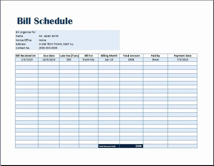 Bill Pay Schedule Template Awesome Bill Payment Schedule Template