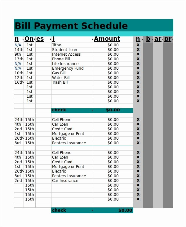 Bill Pay Schedule Template Best Of Excel Schedule Template 11 Free Pdf Word Download