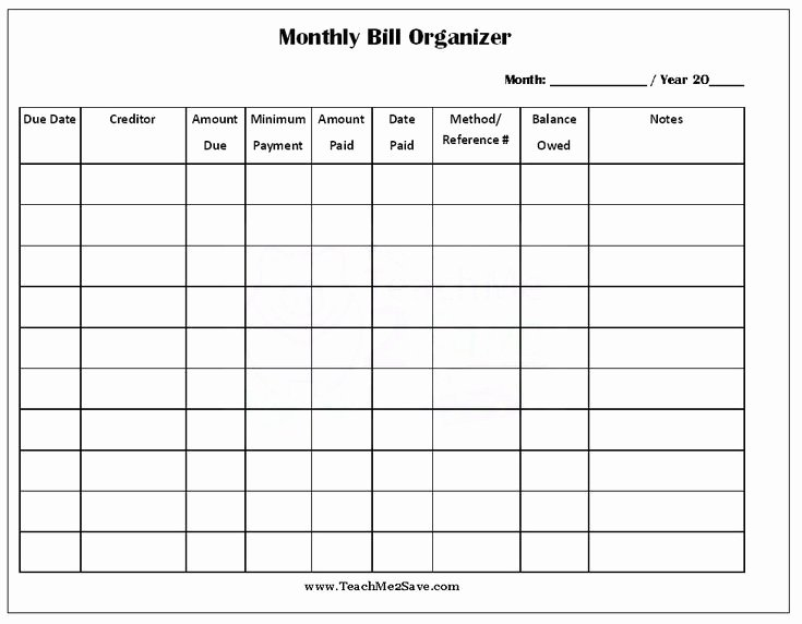 Bill Pay Schedule Template Elegant Free Printable Monthly Bill organizer
