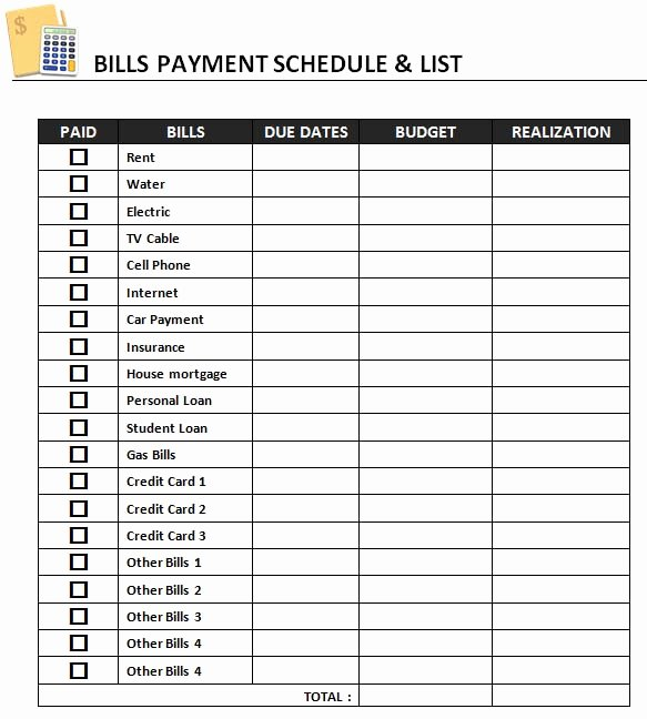 Bill Pay Schedule Template New Monthly Payment Calendar Gallery