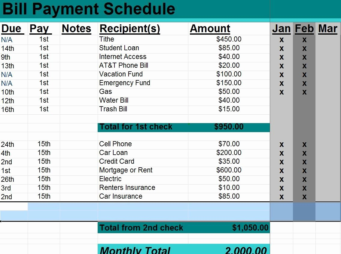 Bill Paying Calendar Template New Excel Monthly Bill Payment Template Other Template