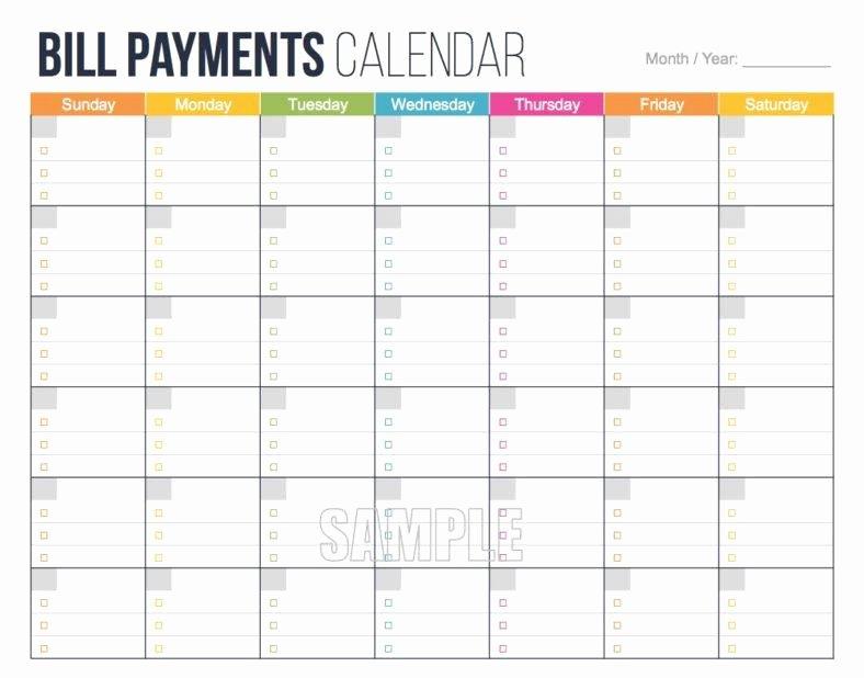 Bill Payment Calendar Template Awesome 4 Bill Pay Calendar Templates Pdf