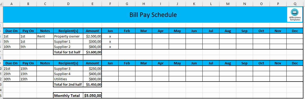 Bill Payment Calendar Template Best Of Free Monthly Payment Schedule In Excel
