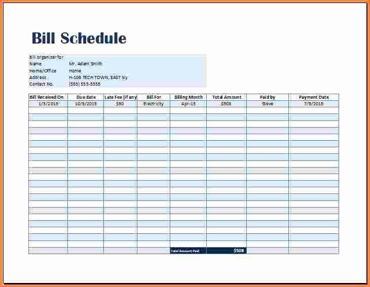 Bill Payment Calendar Template Elegant 8 Payment Spreadsheet Template