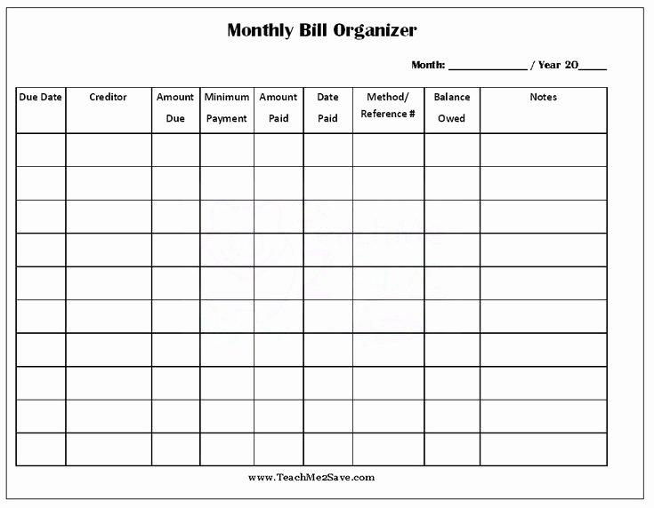 Bill Payment Calendar Template Elegant Free Printable Monthly Bill organizer