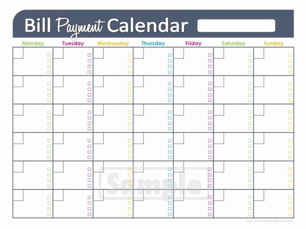 Bill Payment Calendar Template Luxury Bill Paying Calendar Template