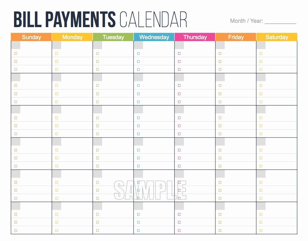 Bill Payment Calendar Template Luxury Bill Payments Calendar Editable Personal Finance