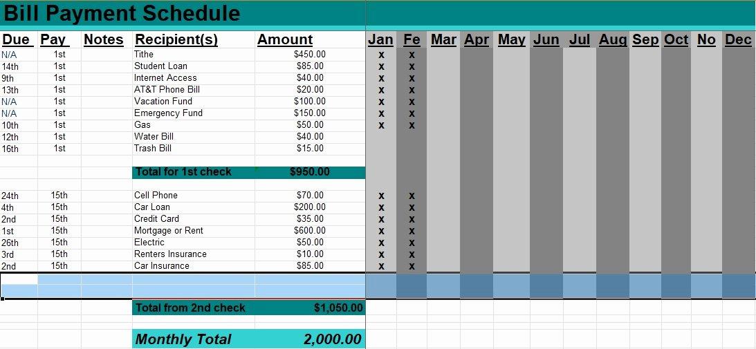 Bill Payment Calendar Template Unique 5 Bill Payment Schedule Template Pdf & Word Excel Tmp