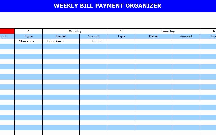 Bill Payment Schedule Template Best Of Monthly Payment Calendar Gallery