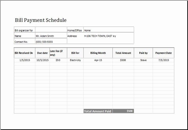Bill Payment Schedule Template Lovely Bill Payment Schedule Template at Emplates